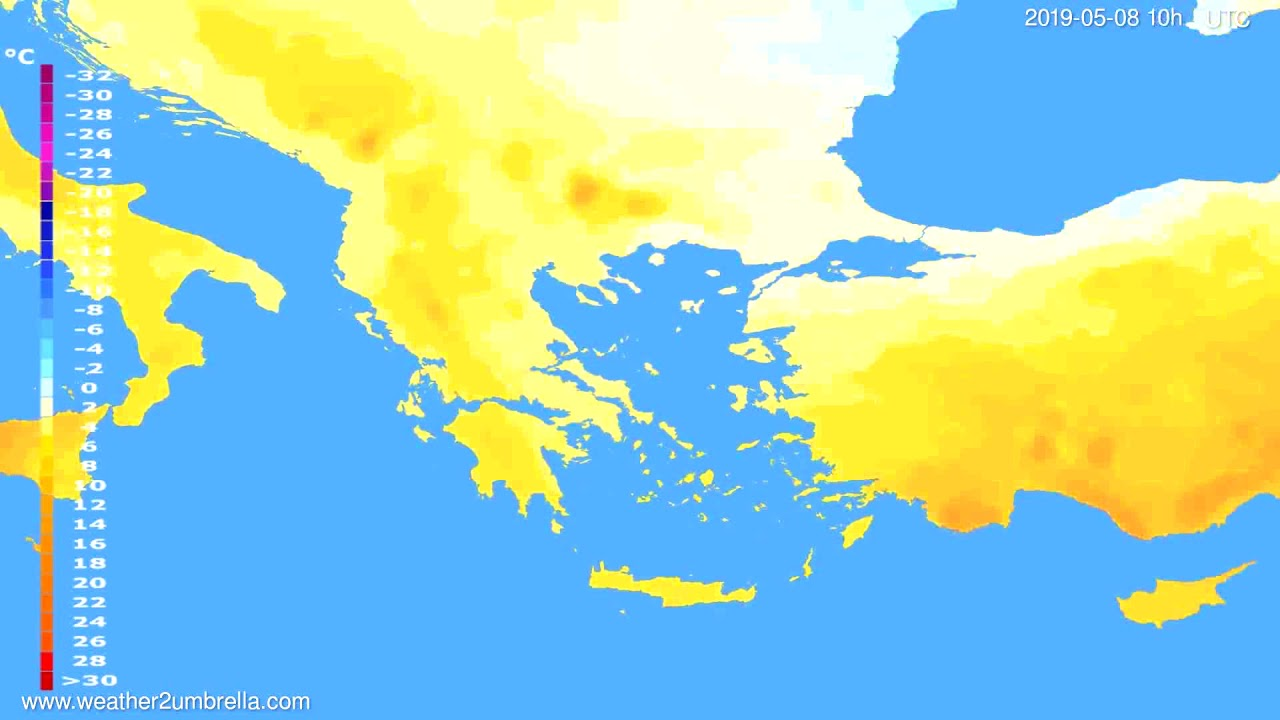 Temperature forecast Greece // modelrun: 12h UTC 2019-05-05