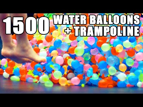 1500 Water Balloons on a Trampoline in Slow