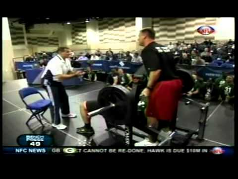NFL Combine - http://youtu.be/LypGDkupIQ4 http://youtu.be/goBcNK-X0Ns Stephen Paea breaking the NFL Scouting Combine Record for Bench Press 225lbs X 49reps.