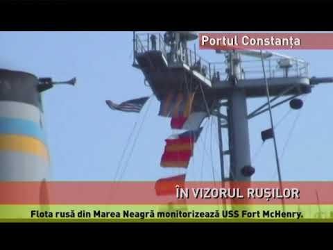 Nava de război americană din Portul Constanța, supravegheată de ruși