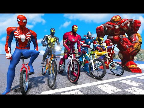TEAM SPIDER-MAN VS TEAM IRONMAN Super Bicycles Competition in Pyramid #1 (Funny Contest) - GTA V Mod