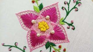 Video Hand embroidery of a  beautiful flower motif MP3, 3GP, MP4, WEBM, AVI, FLV Mei 2019