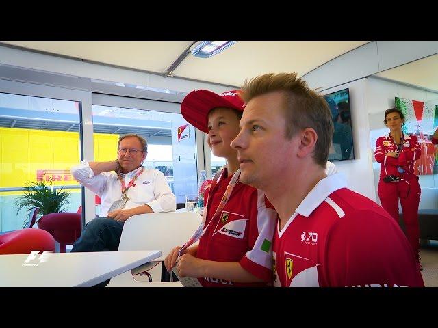 Raikkonen Turns a Young Ferrari Fan's Tears to Smiles | 2017 Spanish Grand Prix