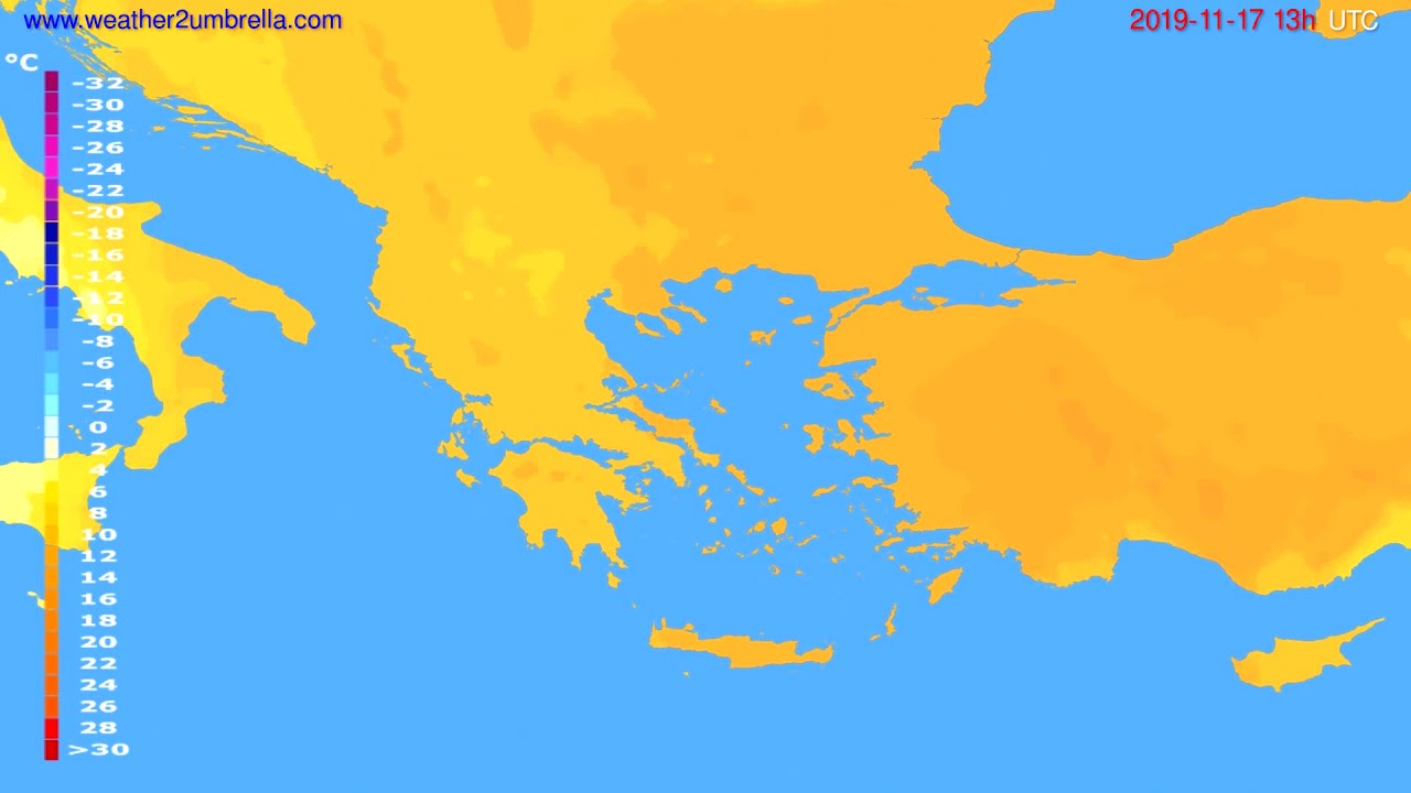 Temperature forecast Greece // modelrun: 12h UTC 2019-11-15