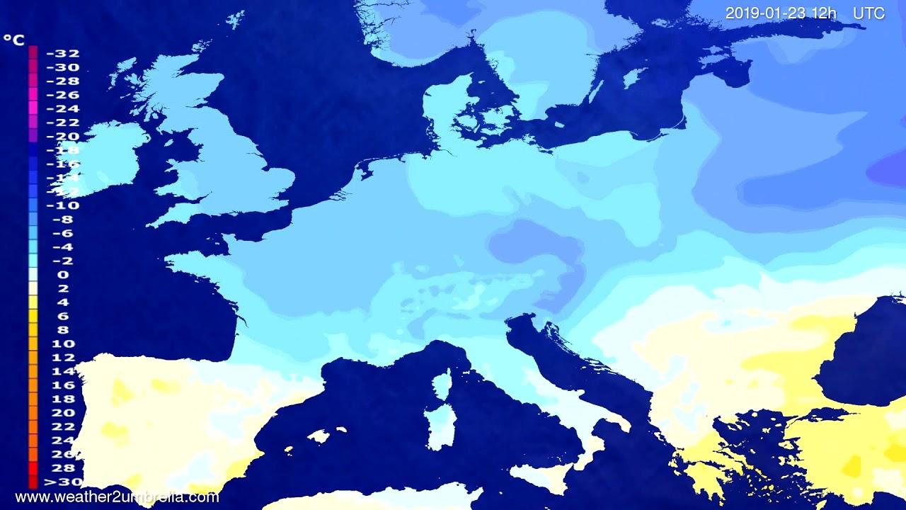Temperature forecast Europe 2019-01-21