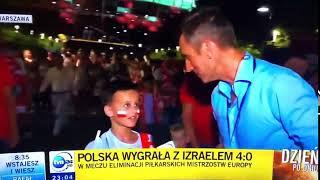 Młody kibic kontra reporter TVN 24. Szybki wywiad tuż po meczu z Izraelem