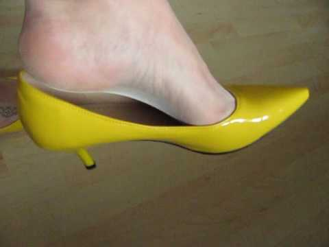 Yellow Patent Kitten Heels, Nylons And Anklet, Shoeplay And Dangling