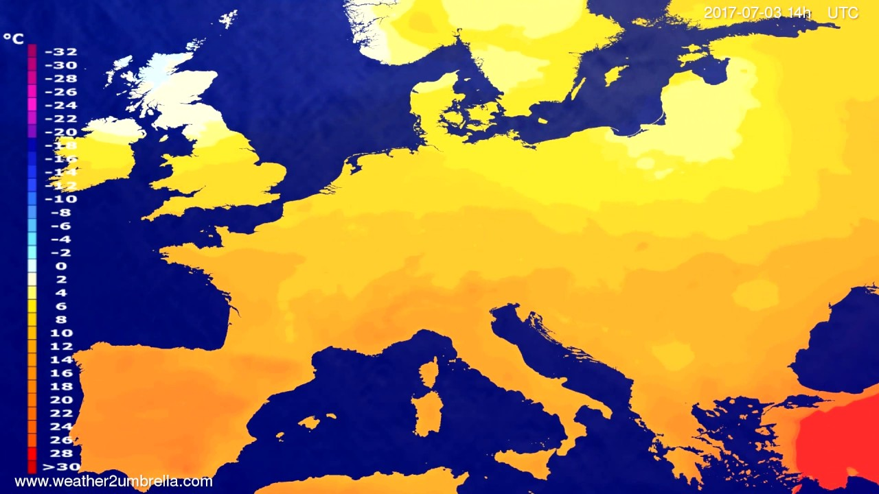 Temperature forecast Europe 2017-07-01