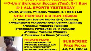 FREE NFL PLAYOFF PICKS, 7*NBA TODAY, 4-1 ALL SPORTS YESTERDAY, PERFECT 6-0 NHL RUN [01-04-19]