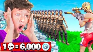 1 Elimination = 6,000 *free* V-Bucks With My Little Brother (Fortnite Battle Royale)