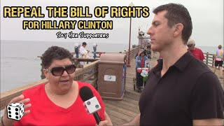 Hillary Clinton supporters are asked if they agree with her supposed