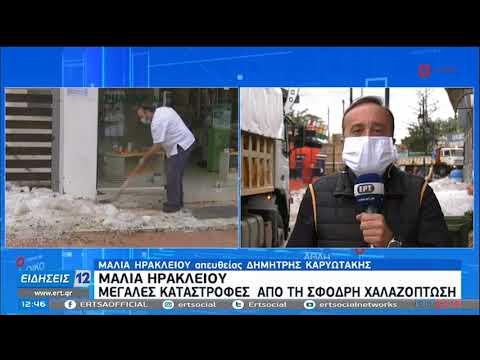 Μάλια Ηρακλείου | Μεγάλες καταστροφές απο τη σφοδρή χαλαζόπτωση | 20/10/2020 | ΕΡΤ