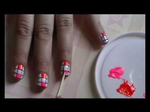 Uñas con Cuadritos de Colores/ uñas tablero de ajedrez en colores