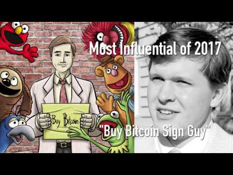CoinDesk's Most Influential in Blockchain 2017 Bitcoin Sign Guy video