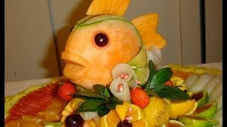 How to make a fish with melon - By J. Pereira Art Carving