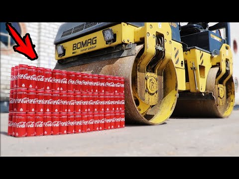 Experiment: Road Roller Vs 100 Coca Cola Cans
