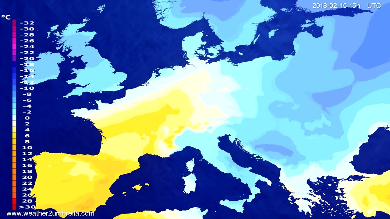 Temperature forecast Europe 2018-02-12