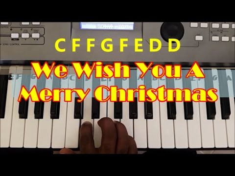 How To Play We Wish You A Merry Christmas. Easy Piano Keyboard Tutorial