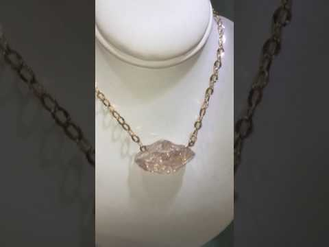 Morganite (rough) 14k rose gold necklace