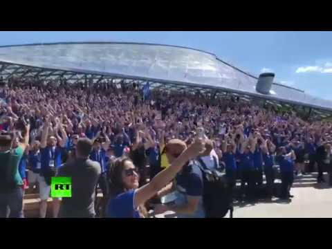 Vikings invade Moscow! Iceland fans gear up ahead of team's clash with Argentina (видео)