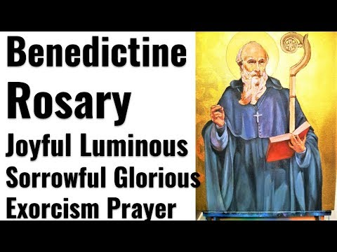 Benedictine Rosary of Deliverance, Joyful, Luminous, Sorrowful, Glorious Mysteries, Cross + Exorcism