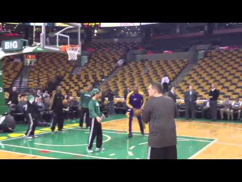 Metta World Peace Lakers pregame warm-up Celtics