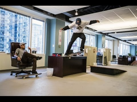 Red Bull   Daily Grind: Skateboarding inside office space | Video