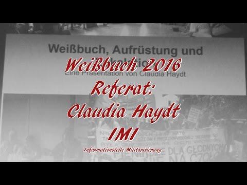 »Weißbuch 2016«: Claudia Haydt am 1.9.2016 im DGB-Haus München