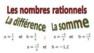 Maths 4ème - Les nombres rationnels Somme et Différence Exercice 24