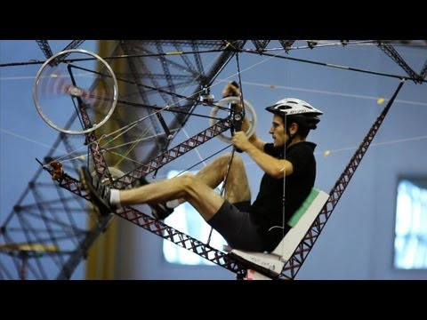 powered - Read the full story here: http://www.npr.org/2012/10/14/160670295/flight-club-human-powered-helicopter Explore the history of human flight here: http://www.n...