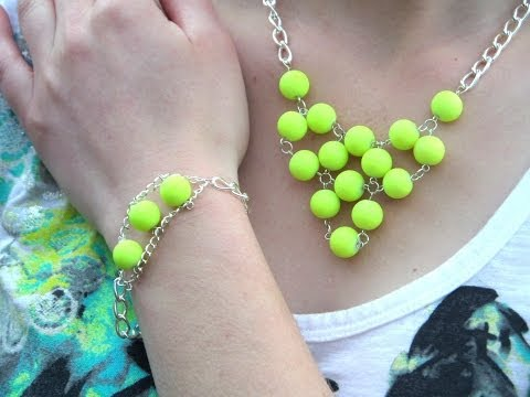 DIY Light Up the Night Neon Yellow Necklace and Bracelet Set | eclecticdesigns