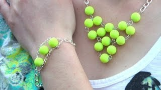 DIY Light Up the Night Neon Yellow Necklace and Bracelet Set | eclecticdesigns - YouTube