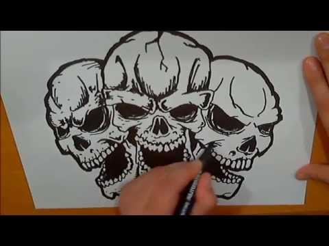 How To Draw Three Skulls. Как нарисовать череп. - видео на сайте VideoVortex.ru
