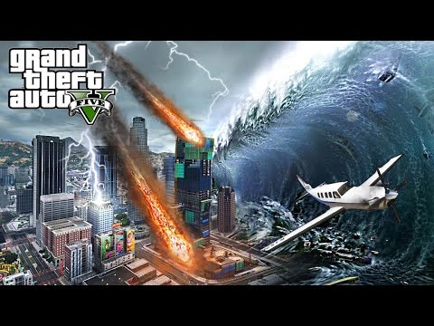 MEGA TSUNAMI AND METEORS DESTROY LOS SANTOS - GTA 5 END OF LOS SANTOS APOCALYPSE MOD