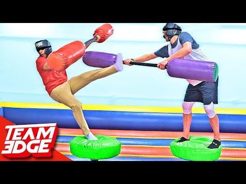 Blindfold Jousting Challenge!! (видео)