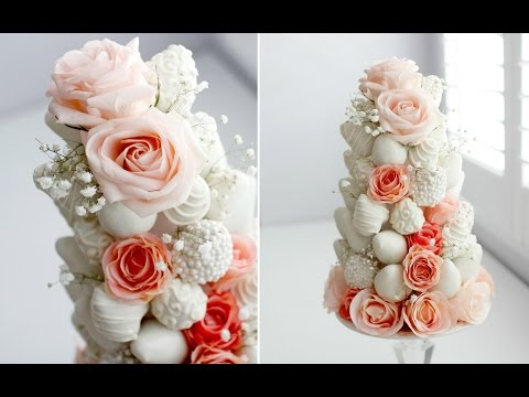 DIY DIPPED STRAWBERRY & ROSE TOWER - GORGEOUS! (видео)