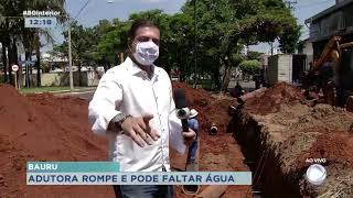 Adutora rompe e bairros da região alta de Bauru podem ficar sem água