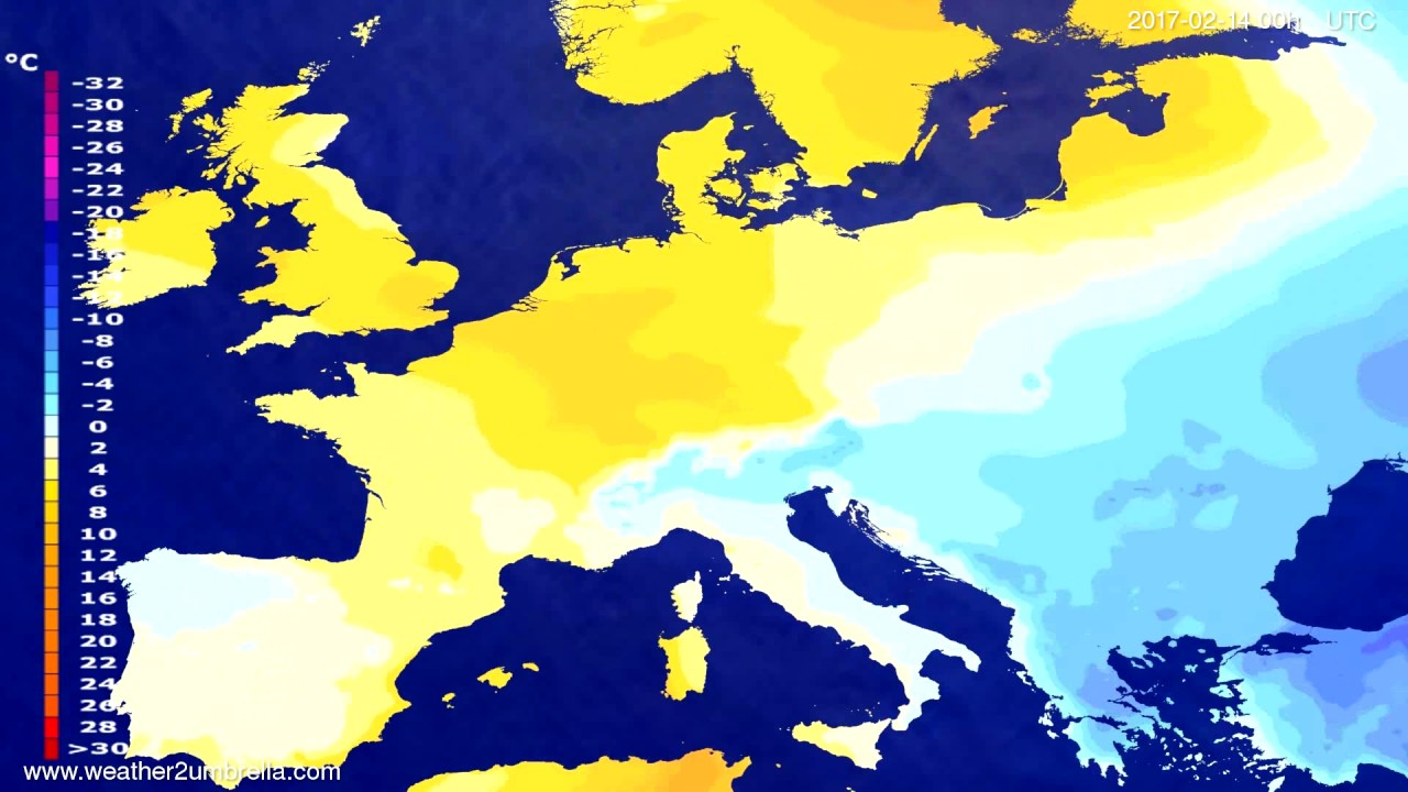 Temperature forecast Europe 2017-02-11