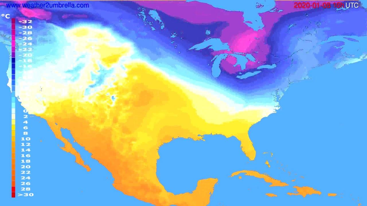 Temperature forecast USA & Canada // modelrun: 12h UTC 2020-01-07