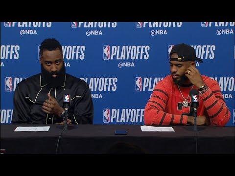 James Harden & Chris Paul Postgame Interview - Game 1 | Jazz vs Rockets | 2019 NBA Playoffs
