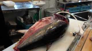 Tuna Cutting In Japanese Sushi Restaurant
