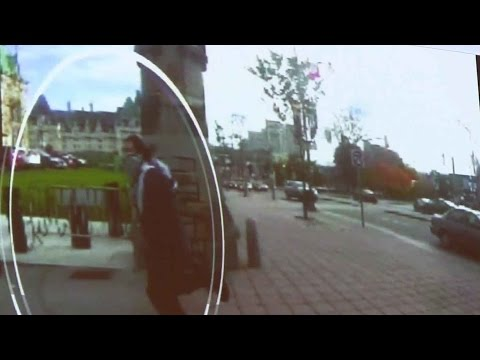 footage - Security footage from cameras on Parliament Hill capture the moment when Michael Zehaf-Bibeau darted from the National War Memorial to Centre Block.