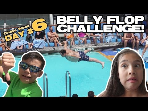 BELLY FLOP CHALLENGE!!!  Rock Wall, BINGO, Ice Skating, Pets & Sea! [CRUISE WEEK DAY 6] (видео)