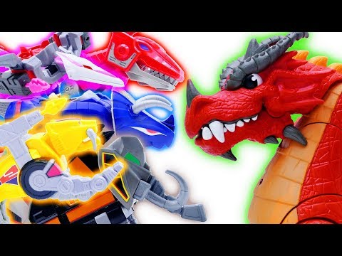 Toys Play Time GIANT Dragon vs Power Rangers Zords Robot Toy Story Short Action Movies For Kids 2018