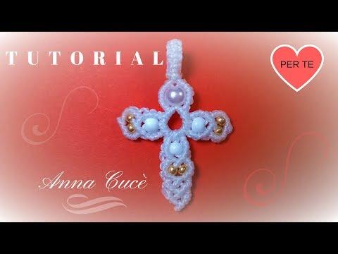 macramè - come realizzare un bellissimo pendente a forma di croce