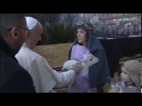 Pope Carries Lamb on Shoulders During Visit to Nativity Scene