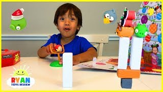 Ryan opens Surprise Toys Advent Calendar with Angry Birds and Disney Tsum Tsum
