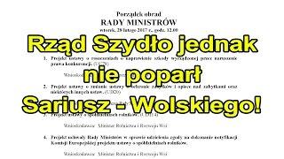 Rząd Szydło jednak nie poparł Sariusz-Wolskiego!