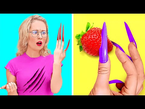 FUNNY GIRLS PROBLEMS WITH THE LONGEST NAILS EVER! || Manicure Hacks And Fails by 123 Go! Gold