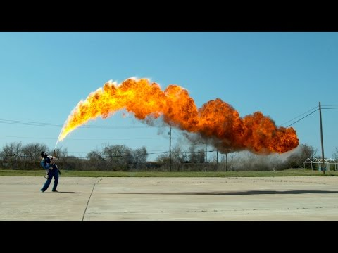 The Slow Mo Guys 50Foot Flamethrower in Slow